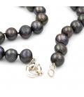 Collar de Perlas Negras y Cierre de Marinero de Plata 925