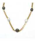 Collar de Perlas Australianas y Perlas Tahití en Oro de 18 kt