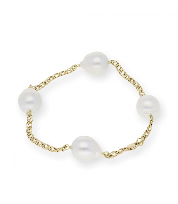 Pulsera oro 18 k con Perlas Australianas Blancas