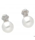 Pendientes de Perlas Australianas y Diamantes en Oro de 18 kt