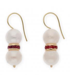 Pendientes de Perlas y Rubíes en Oro de 18 kt