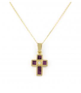 Collar con Cruz de Rubíes y Diamante en Oro de Ley 18 kt