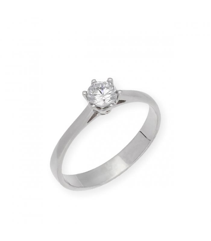 Solitario con Diamante Talla Brillante de 0,51 ct Oro Blanco