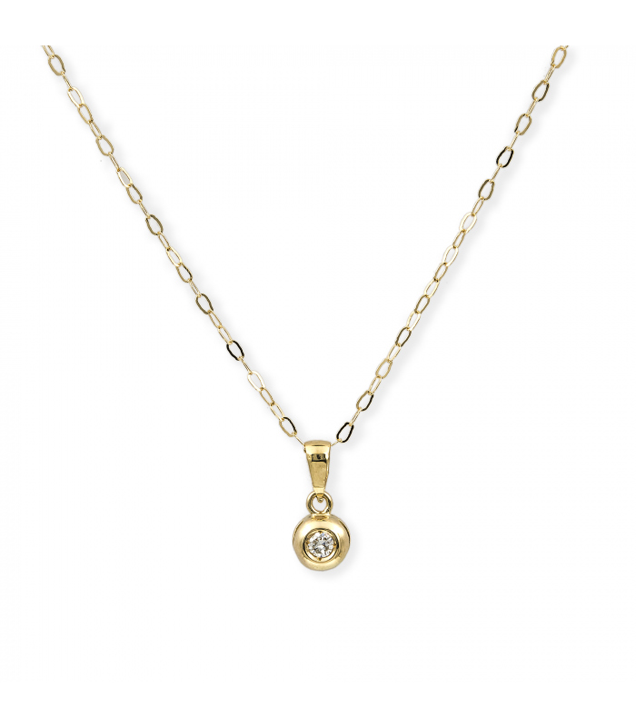 Collar con Colgante de Diamante en Oro Amarillo 18 kt
