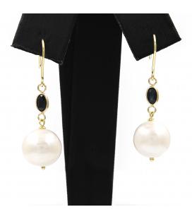 Pendientes con Zafiros y Perlas Cultivadas en Oro 18 kt