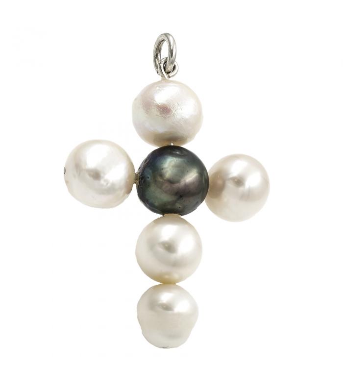 Colgante Cruz en Plata de Ley con Perlas Cultivadas