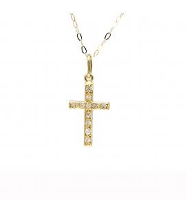 Collar con Colgante Cruz en Oro Amarillo de Ley y Diamantes
