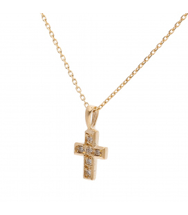 Colgante de Cruz con Diamantes y Oro Amarillo de Ley 18 kt