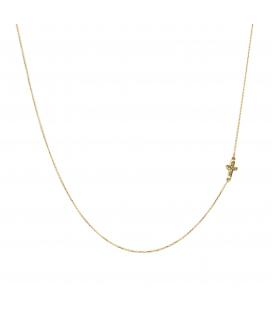 Collar con Cruz Horizontal en Oro amarillo de ley y Diamantes