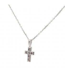 Colgante de Cruz con Diamantes y Oro Blanco de Ley 18 kt