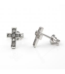 Pendientes Cruz en Oro Blanco de Ley y Diamantes