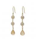 Pendientes de Perlas con Cuarzos Citrinos en Oro de Ley 18 kt