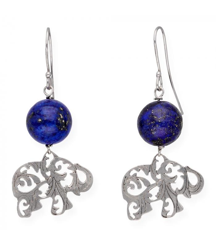 Pendientes con Lapislázuli y Plata 925 con Diseño de Elefante