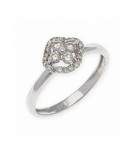 Anillo de Oro Blanco de Ley con Diamantes