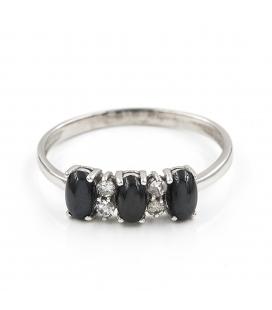 Anillo de Diamantes y Zafiros en Oro de Ley 18k
