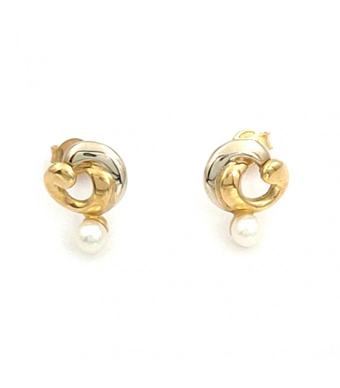 Pendientes de Oro Amarillo 18 kt con Perlas Cultivadas