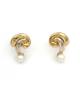 Pendientes Bicolor de Oro 18 kt con Perlas Cultivadas
