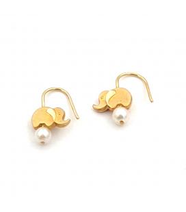 Pendientes de Oro 18 kt con Perlas Cultivadas y Diseño de Elefante