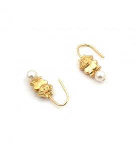 Pendientes de Oro 18 kt con Perlas Cultivadas y Diseño de Niña