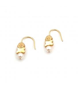 Pendientes de Oro 18 kt con Perlas Cultivadas y Diseño de bebe