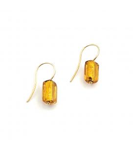 Pendientes de Oro 18 kt con Cuarzo Citrino Cilíndricos
