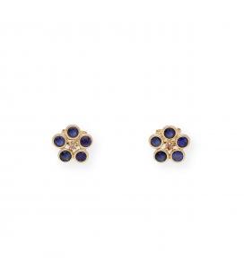 Pendientes Forma de Flor en Oro 18 kt con Zafiros y Diamantes