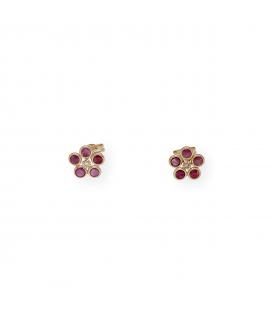 Pendientes Forma de Flor en Oro 18 kt con Rubíes y Diamantes