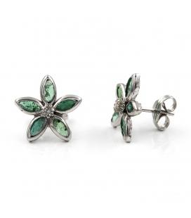 Pendientes Forma de Flor en Oro 18 kt con Esmeraldas y Diamantes