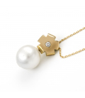 Collar con colgante en Oro 18 kt con Perla Australiana y Diamante