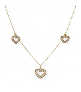 Gargantilla con Colgantes de Corazón con Diamantes y Oro de Ley