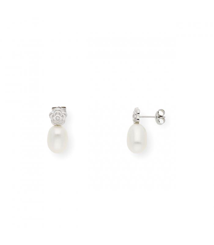 Pendientes de Oro Blanco de ley 18k con Diamantes