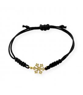 Pulsera con Diseño de Copo de nieve en Cuero Negro con Oro de Ley y Diamantes
