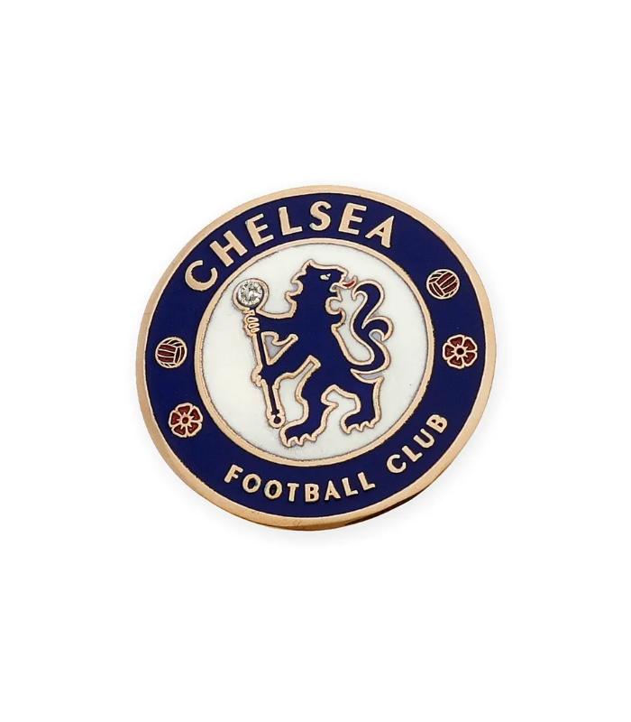Pin de Oro de Ley Esmaltado y Diamante del Chelsea FC