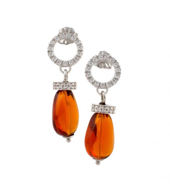 Pendientes de plata de primera ley con cuarzos naranja y circonitas