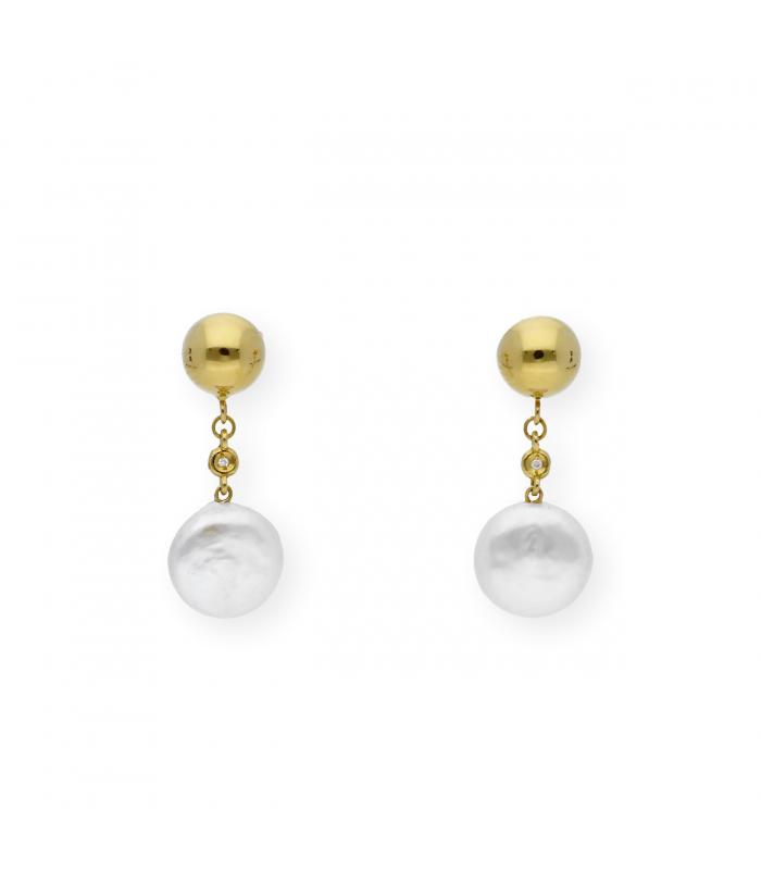 Pendientes Perlas Agua Dulce y Diamantes en Oro de Ley 18k