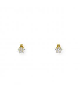 Pendientes Flor Diamantes en Oro Amarillo 18 kt