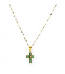 Colgante Cruz con Diamante y Esmeraldas en Oro de Ley 18k