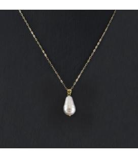 Collar con Colgante de Perla en Oro de Ley 18k