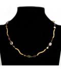 Gargantilla de oro amarillo 18kt con gemas de colores y perlas