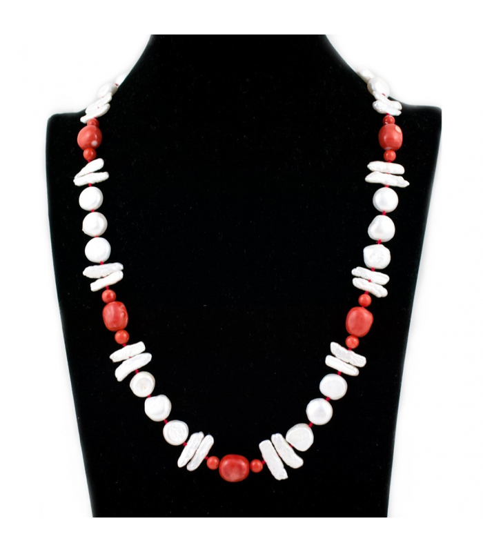 Collar de perlas y coral con cierre marinero de oro 18kt