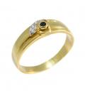 Sortija de Oro con Zafiro en Chatón y Tres Diamantes