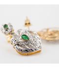 Pendientes de oro 18kt con esmeraldas talla brillante y talla pera