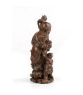Figura antigua de palo rosa anciano y niño – 32cm