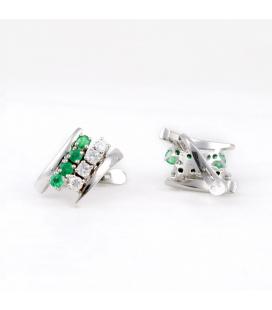 Conjunto Pendientes y Anillo Oro Blanco Esmeraldas y Diamantes