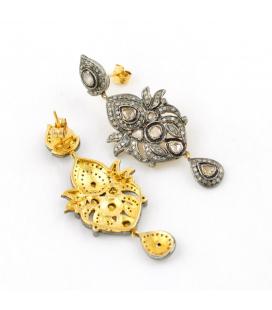Pendientes de plata 925ml y oro 14kt con 255 diamantes