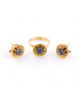 Conjunto sortija y pendientes de oro amarillo 18kt y cuarzos azules en garras años 40