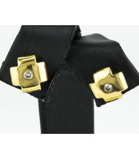 Pendientes cruz en oro amarillo con Diamantes talla brillante