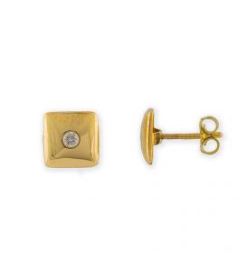 Par de Pendientes de Oro amarillo cuadrados con Diamantes talla brillante