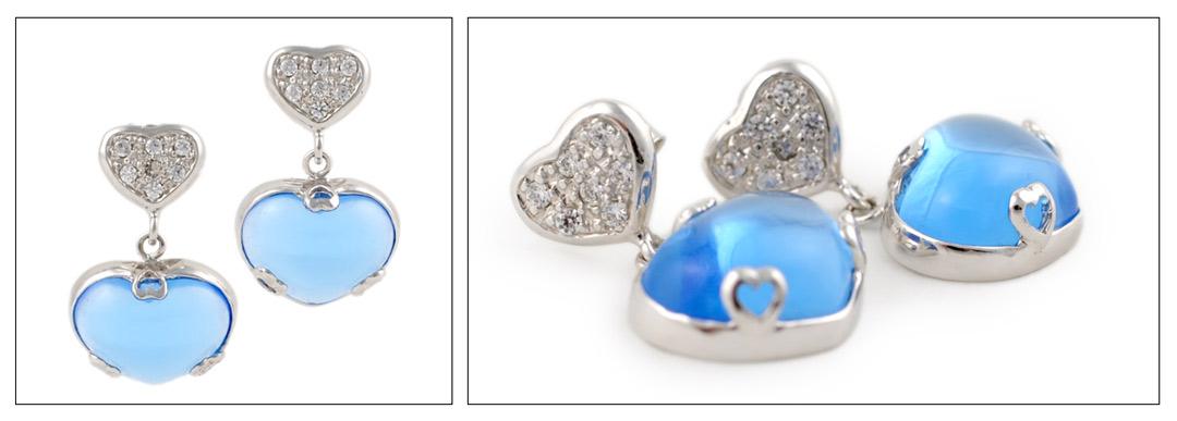 Pendientes de cuarzos azules en forma de corazón plata 925ml