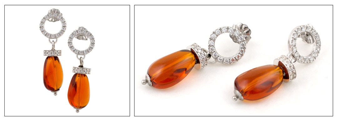 Pendientes de plata 925ml con cuarzo naranja y circonitas